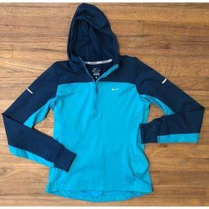 Nike Running Pullover hooded teal jacket